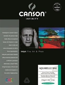 Canson Infinity Aquarelle Rag Inkjet Paper A4 310gsm 206121016 - Pack 25 Sheets