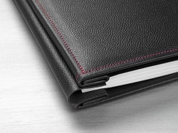 Hahnemuhle Leather Photo Album Cover Black with Red Stitching A4 10640743 - Each